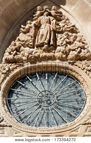 Burgos (Castilla y Leon Spain): exterior of the medieval cathedral in gothic style. Rose window