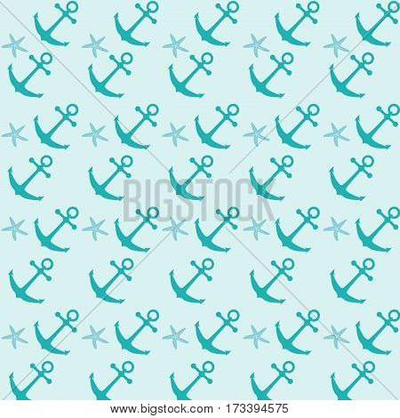 Flat illustration of nautical ship anchors pattern on a mint background.