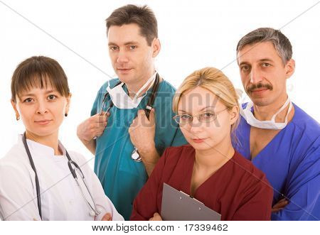 successful medical team on white background