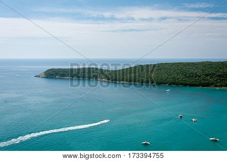 Adriatic Sea Montenegro Seascape With Island And Boats