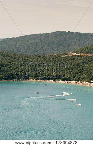 Aerial View Adriatic Sea Montenegro Blue Sky Beach Sunny