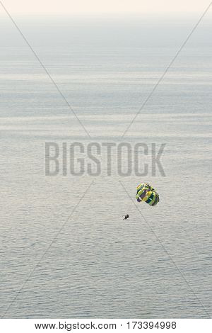 Parachute Flying Over Adriatic Sea Bay