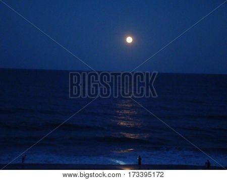Moon at Night over Carolina Beach , North Carolina