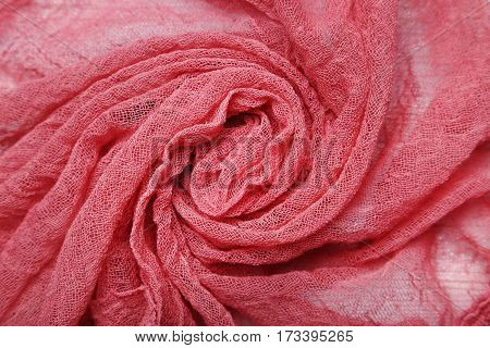 The Red gauze fabric background, close up