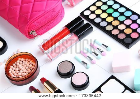 Different Makeup Cosmetics On A White Background