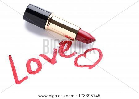 Red lipstick on a white background, close up
