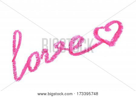 Pink lipstick on a white background, close up