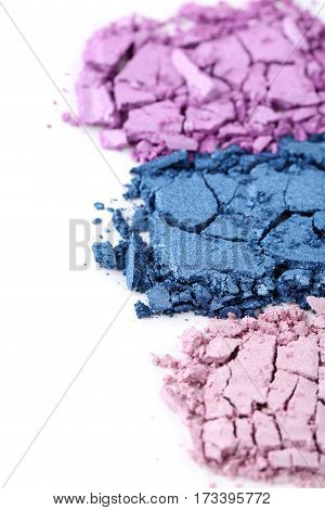 Makeup eyeshadow on a white background, close up