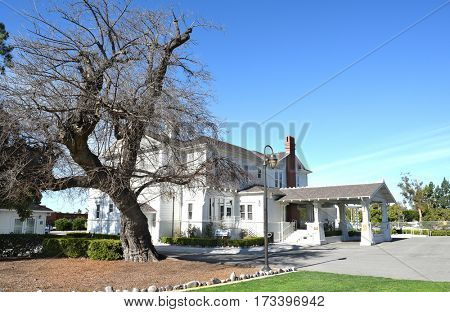 IRVINE, CALIFORNIA - FEBRUARY 24, 2017: Katie Wheeler Library. Situated on the grounds of the Irvine Ranch Historic Park it is a recreation of the original Irvine Family home.