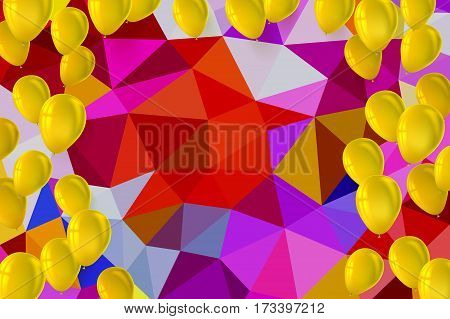 Festive background for greeting cards, presentations, commercial ad with color, inflatable balloons. Greetings happy birthday card with inflatable balloons on background from colored bright triangles