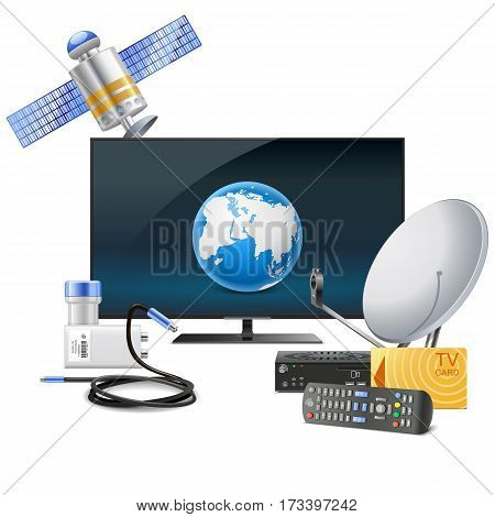 Vector TV with Satellite Equipment isolated on white background