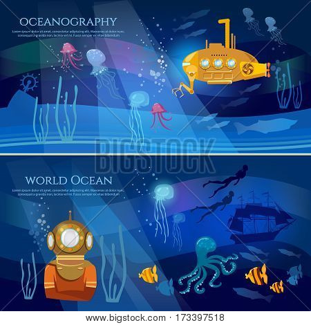 Yellow submarine underwater with periscope. Sea exploration banner. Oceanography concept scientific research of sea and ocean