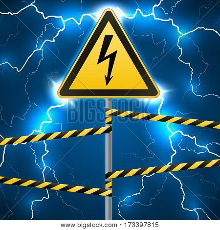 Warning sign. Electrical hazard. Fenced danger zone. A pillar with a sign. Lightning strikes. Flash arcing. Fantastic background. Vector illustration.