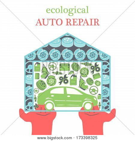 Eco Car Repair Services concept with car icons and spare parts in the garage in the stretched out palms in a trendy flat style. Vector illustration