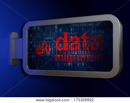 Information concept: Data Migration and Gears on advertising billboard background, 3D rendering