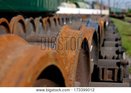 New repaired train metal wheels in outdoor