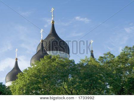 Alexander Nevsky Church Cupolas Above Trees
