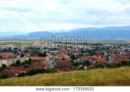 Aerial view of the small city Codlea, in Transylvania, Romania.