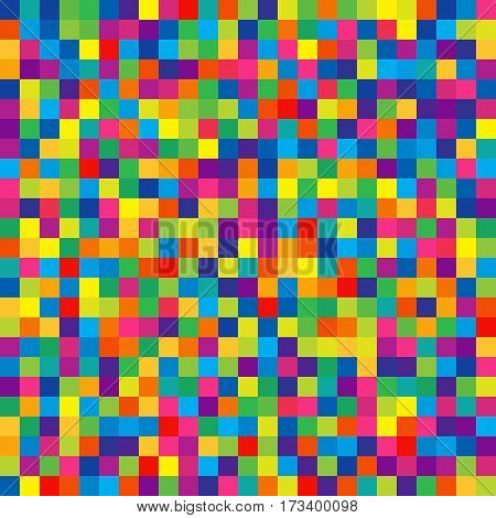 Seamless Pattern of Bright Colorful Squares for Children Wrapping-paper. Mosaic of Squares of Rainbow Colors. Geometric Concept.