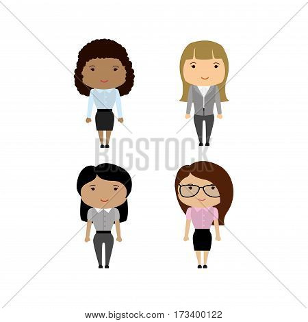 Set Different Races Business Woman Or Office Worker