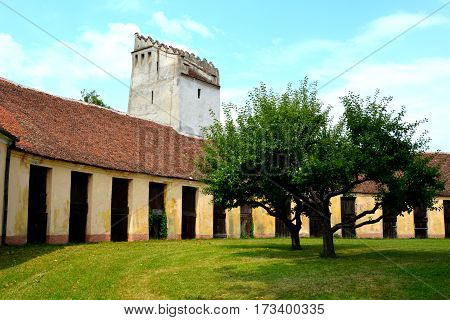 Courtyard of the fortified medieval saxon church Codlea, the largest in the Burzenland historic region, Transylvania, Romania. The city of Codlea is believed to have been also founded by Germans.