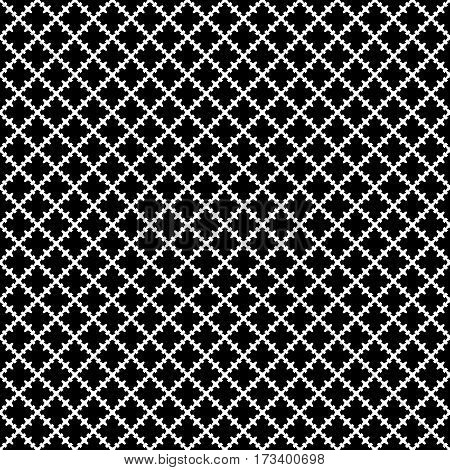 Vector seamless pattern. Abstract black & white texture with curved geometric shapes, barbed figures. Repeat tiles. Endless dark ornamental background, gothic style. Design for decoration, prints, textile, fabric, cloth