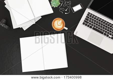 Office desk table with labtop computer, blank magazinesmart phone and coffee cup Top view with copy space