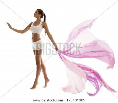 Woman Body Beauty in Sport White underwear with Waving Fabric Pink Cloth in Hand Slim Girl Side View Isolated over White