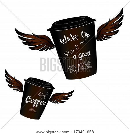 Coffee to go with wings, Wake up -  lettering, isolated on white background, stock vector illustration