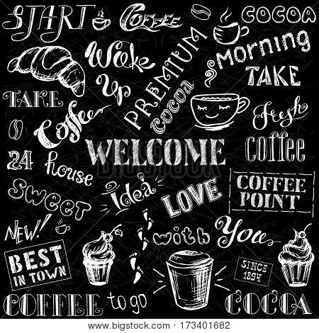 Coffee and cocoa - lettering, hand drawn on black background, stock vector illustration
