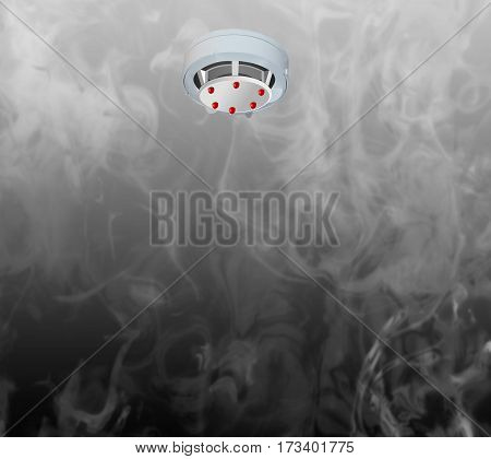 Smoke detector on the ceiling with red warning light sensor and smoke.