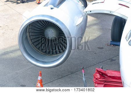 Close-up detail of aircraft jet engine of a commercial aircraft.