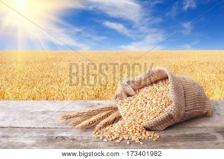Bulgur scattered out of the bag on table with field of wheat on the background. Agriculture and harvest concept. Ripe field, blue sky with beautiful clouds and sun. Uncooked porridge. Cereal grains