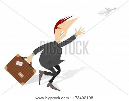 In the airport. Scurrying man trying does not miss the flight