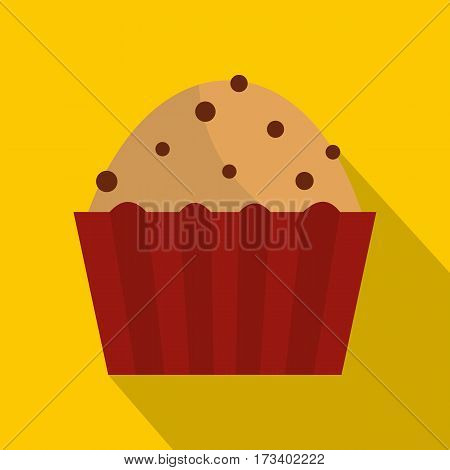 Muffin with raisins icon. Flat illustration of muffin with raisins vector icon for web isolated on yellow background