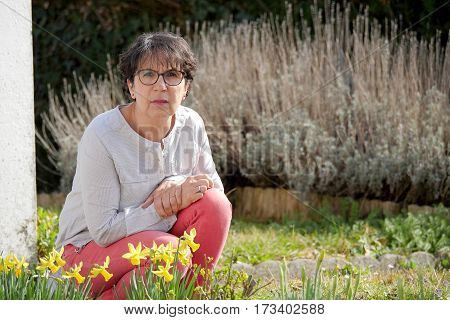 portrait of brunette mature woman in her garden with daffodils