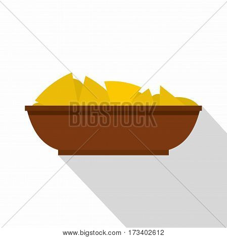 Mexican nachos in brown bowl icon. Flat illustration of Mexican nachos in brown bowl vector icon for web isolated on white background