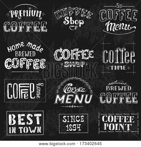 Set Of Vintage Retro Coffee Labels On Chalkboard . Coffee decoration collection , stock vector illustration