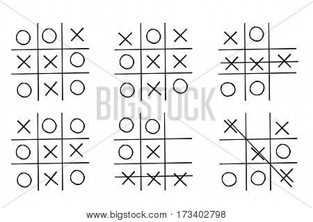 Set- tic tac toe game, isolated on white background, hand drawn vector illustration