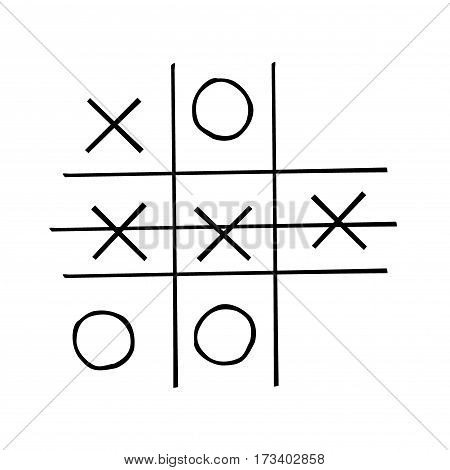 tic-tac-toe competition isolated on white background, icon or logo hand drawn, stock vector illustration