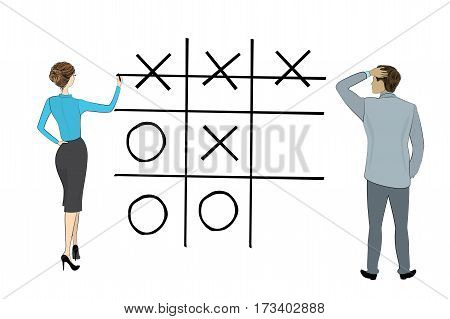 Business woman and businessman play tic tac toe game, isolated on white background, , stock vector illustration