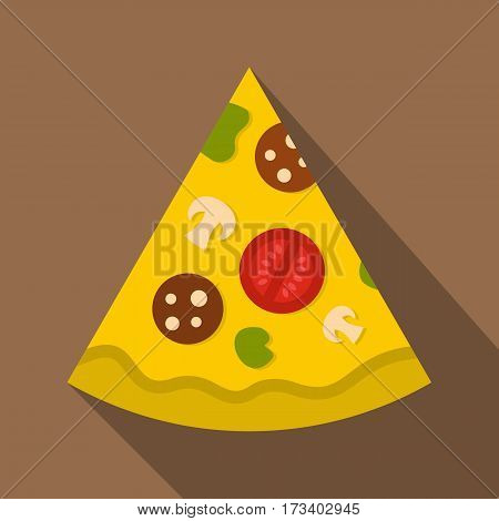 Piece of pizza with sausage, tomatoes and mushrooms icon. Flat illustration of piece of pizza with sausage, tomatoes and mushrooms vector icon for web isolated on coffee background