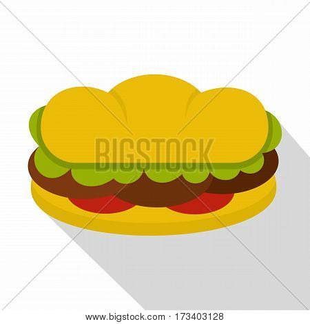 Sandwich with meat patties icon. Flat illustration of sandwich with meat patties vector icon for web isolated on white background