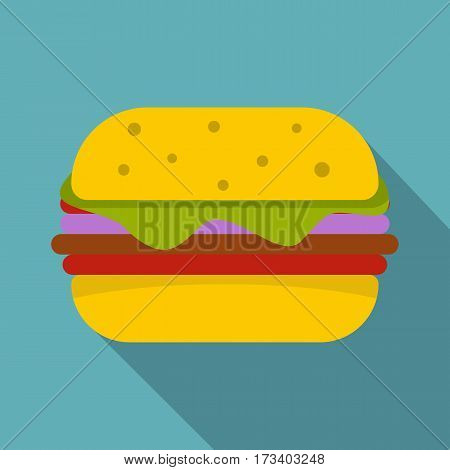 Hamburger with cheese, lettuce, meat patty and bun with sesame seeds icon. Flat illustration of hamburger with cheese, lettuce, meat patty vector icon for web isolated on baby blue background