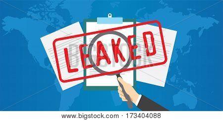 confidential document leaked to public vector illustration design concept