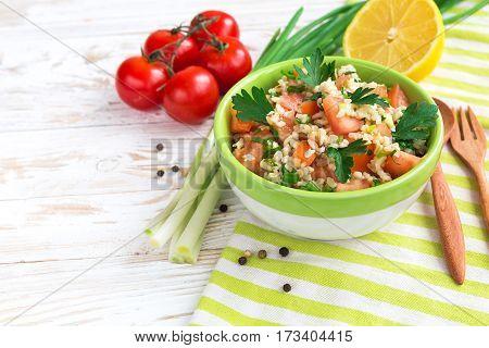 Green Salad. Healthy Food And Vegetarian Concept