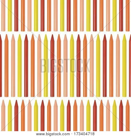 Seamless pattern with colored pencils, set of crayons on white background