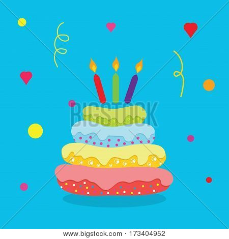 cake with candles colorful cake birthday cake with burning candles isolated on blue background