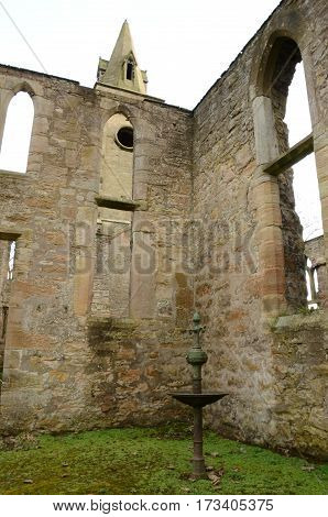 A view of the ruins of an old church in Bo'Ness