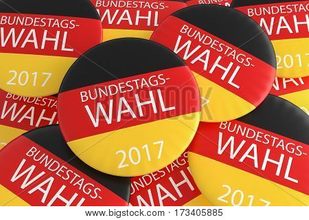 German Election Concept: Pile of Bundestag Election 2017 Buttons In German Language With Germany Flag 3d illustration